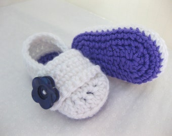 Baby Infant Girl Shoes / Booties - Purple & White Flower - YOUR choice size - (newborn - 12 months) - photo prop - children