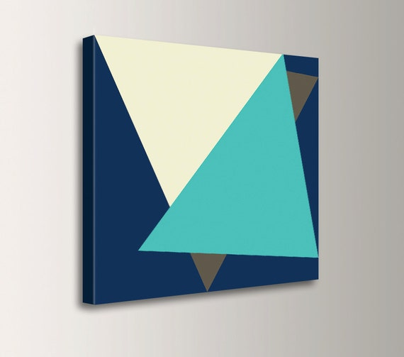"Canvas Wall Art - Aqua and Navy Blue - Modern Wall Decor - "" Tuck """