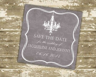Damask Chandelier Save the Date Cards