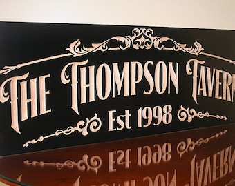 Custom Bar Sign, Custom Pub Sign, Craft Beer Sign, Personalized Pub, Pub Sign, Carved Wood Sign, Benchmark Signs Maple TV2
