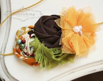 Golden Days- Fall inspired headbands, rosette headbands, golden headbands, brown headbands, newborn headbands, photography prop