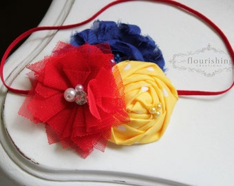 Red and Royal Blue headbands, Snow White Inspired headband, royal blue headbands, headbands, newborn headbands, photography prop