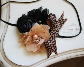 Tan and Black Chiffon headband, baby headbands, newborn headbands, shabby chic headbands, photography prop, tan headbands