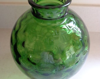 Green Glass Vase Hand Blown Glass Wheaton Glass circa 1970s Beautiful bubble finish