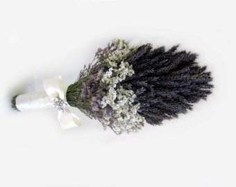 Organic Dried Gross Blue Lavender  Wedding  Chic bouquet with vintage Broach - Bridal bouquet - Bridesmaid bouquet MADE TO ORDER