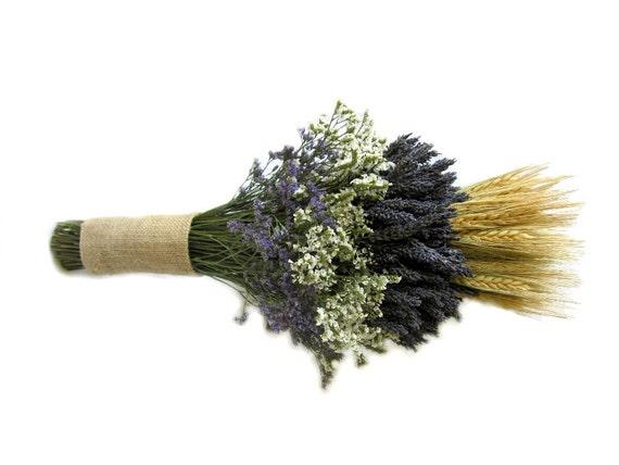 articles similaires organiquement s ch es lavande avec cosse de bl bouquet de mari e. Black Bedroom Furniture Sets. Home Design Ideas