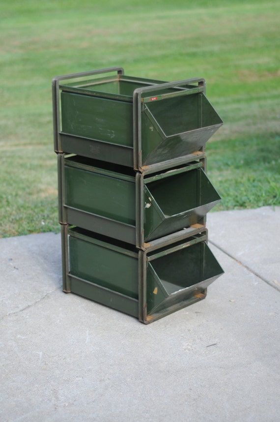 Industrial Stacking Containers : Vintage industrial stack bins and frames