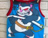 Size 6 (child's) Upcycled Tank Top / Muscle Shirt: blue, grey, red, white, Black Friday/Cyber Monday/Free Shipping /Gifts under 50