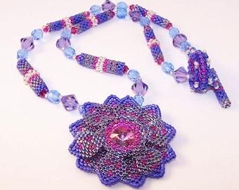 Lotus Flower Necklace with Swarovski crystal