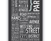WINSTON SALEM - Typography poster print, wall art - North Carolina