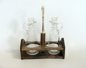 Clear Glass Oil and Vinegar Cruet Set with Wood Holder by Maison International LTD Made in Japan, Retro Cruet Set Wood Holder with Stoppers