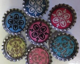 Set of 7 Patterned Bottlecap Magnets