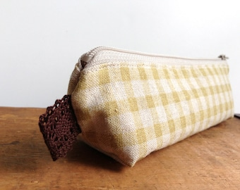 Yellow Gingham Check Pencil Case, Cute Pencil Pouch, Back to school, Zipper Pouch, Linen Cotton