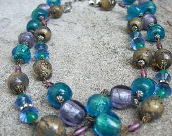 Elegant Pastel Glass Beaded Dramatic Necklace