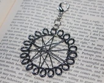 SALE! Abstract Silver Circle Keychain / Purse Charm