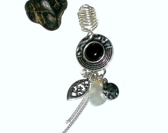 Dreadlock Jewelry - Black and Silver Hammered Mother of Pearl Loc Jewel