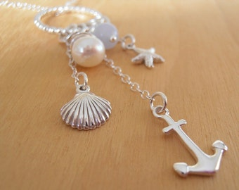 Nautical Necklace - Sterling Silver & Gemstone Charms - Trinkets Collection