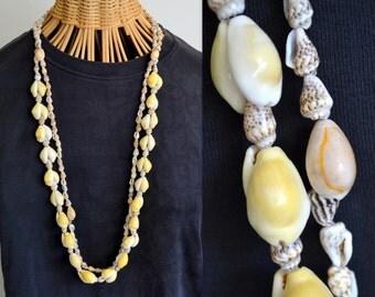 Vintage Long Cowry Sea Shell Necklaces Hawaii Leis Seashell Chain Jewelry Tropical Island Hawaiian South Pacific Exotic Yellow Orange Brown