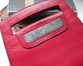 Vintage Red Leather Envelope Clutch With Etched Patterned Metal Inlay