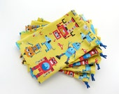Robot Birthday Bags / Party Favors / Treat Bags / Fabric Goodie Bags / Goody Bags / Cloth Gift Bags / 6.25 x 9.5 inches / Set of 5