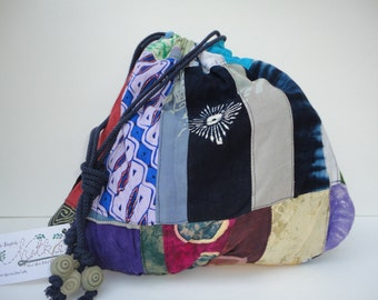 Repurposed Patchwork Boho Drawstring Pouch Bag
