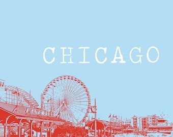 8x10 Chicago Navy Pier Print - Chicago Landmark, Ferris Wheel