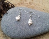 Tiny, 925 and Karen Hill Silver, Freshwater White Pearl Earrings. Perfect for Birthday's and as Bridal Accesories. A Great Christmas Gift.