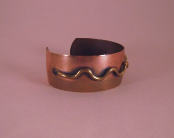 Copper Cuff Bracelet, With Riveted Design
