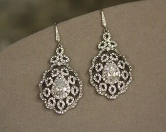 Bridal Earrings, Wedding Earrings,Swarovski Crystal Earrings,  Crystal Knot wedding chandelier bridal earrings