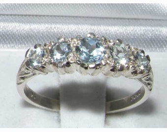 Aquamarine 925 Solid Sterling Silver VINTAGE Style Ring, 5 Stone Half Eternity Band -Made in England- Customize: 9K, 14K, 18K Gold