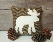 Decorative Balsam Pillow, Rustic Cabin Pillow, Cabin Moose Pillow, Brown Pillow, Little Pillow, Rustic Lodge Pillow