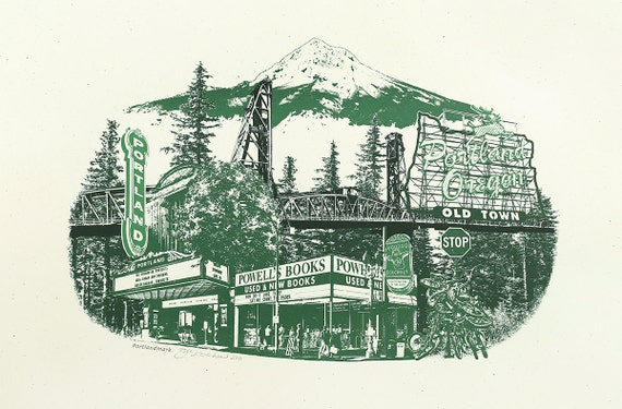 Portland Art // Print // Wall art // Oregon Art // Collage // Cityscape // Mt Hood  Portlandmark - 12.5x19