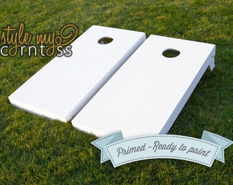 Corntoss | Cornhole | Baggo Set | White Primer Only - Ready to Paint | 2 Boards | Bags Optional