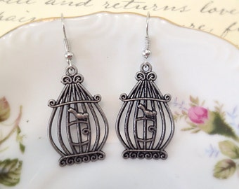 Silver Birdcage Earrings. Whimsical Dangle Earrings. Antique Silver. Gifts for Her. Woodland. Birds. Under 10. Simple Design. Fun.