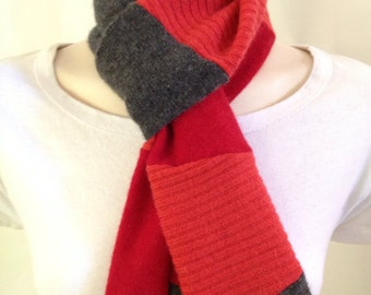 50% OFF CLEARANCE- Recycled Cashmere Scarf: Small/Red & Grey