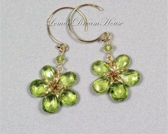 August Birthstone Earrings, Gemstone Flowers, Peridot Faceted Pear Briolettes, Micro Faceted Rondelles, Gold-filled Wire and Earwires. E212.