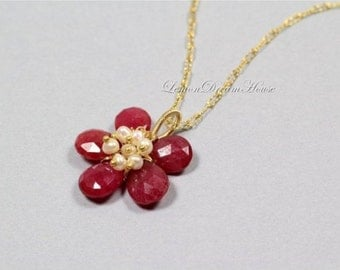 July Birthstone. Gemstone Flower Necklace, Genuine Ruby Faceted Pear Briolette, White Pearls, GF Elongated Curb Chain. Nature Inspired. N179