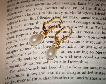 Jane Austen Eliza drop pearl Earrings: Small