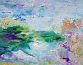 Sun River Memories, Sun River, Oregon River Painting, Abstract, Landscape Oil, From Glen To Glen, Kathleen Leasure