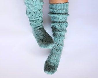 Mint knee high socks. Ocean blue boot socks. Ice aqua blue socks Hand knit wool socks Lace boot socks Spring accessories Lace boudoir socks