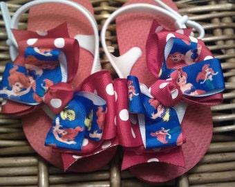 Little Mermaid Ariel toddler Flip Flops - Sizes: 9/10