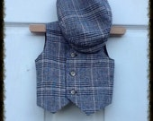 baby boys Tan plaid VEST and matching BERET hat, fall winter fashion for baby boys, photo prop for boys (6-9 months & 12-18 months)