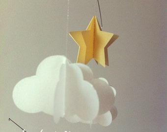 Mobile, clouds and stars, iridescent white and gold, baby shower