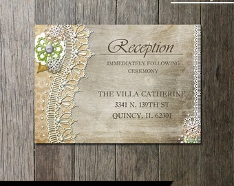 Rustic Lace Wedding Reception Card-Printable wedding stationery -  lace and vintage elements etched wood background - Digital Printable