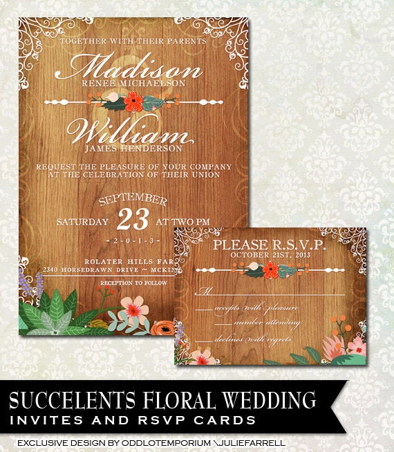 Rustic Wedding Invitation Featuring Vintage Flowers On A