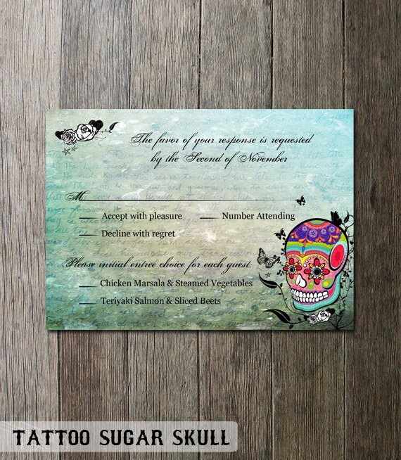 Skull Wedding Invite Set Sugar Skull Invitation Day Of The Dead Offbeat  Till Death Do Us Part Calaveras Digital Printable Wedding Invitation