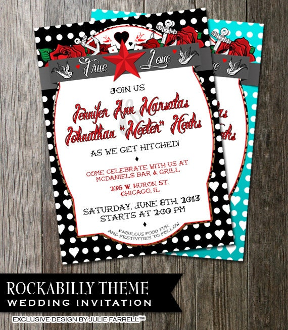 rockabilly wedding invitation polka dot stationery tattoo, Wedding invitations