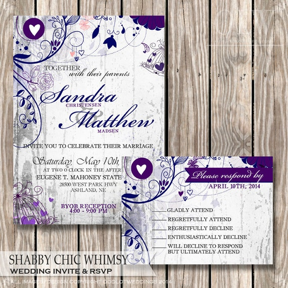 Rustic Wedding Invitation and RSVP-Shabby Chic Fancy Flourishes on White Wood Background wedding invite stationery