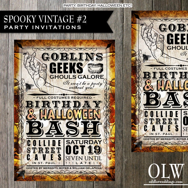 Vintage halloween party invitation printable halloween for Vintage halloween party invitations