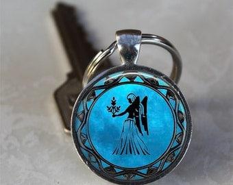 Virgo Zodiac Astrology Horoscope Glass Dome Keychain (GDKC0341)